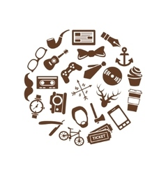 Hipster icons in circle vector