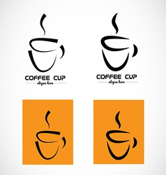 Hot coffee cup logo vector image vector image