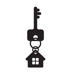 Key with house fob silhouette vector image vector image