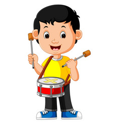 Kid playing with a drum vector