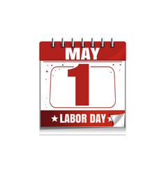 Labor day wall calendar 1 may vector