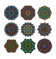 Mandala pattern flower set vector