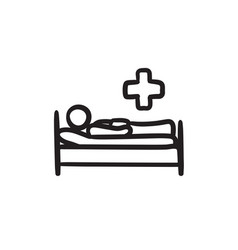 Patient lying on bed sketch ico vector