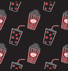 Popcorn and drink doodle seamless vector