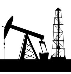 Silhouette of oil derrick vector