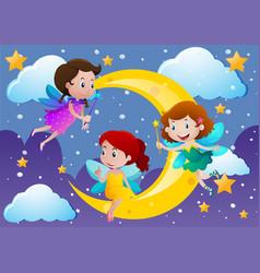 Three fairies flying over the moon vector