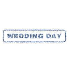 Wedding day textile stamp vector