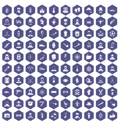 100 beard icons hexagon purple vector