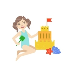 Girl building a sand castle vector