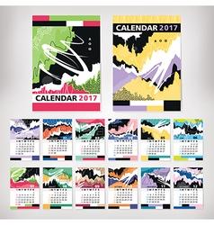 2017 year calendar with contemporary style art vector