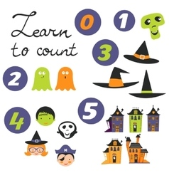 Learn to count halloween related cute collection vector