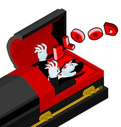 Dracula in his coffin cries blood thirst for vector