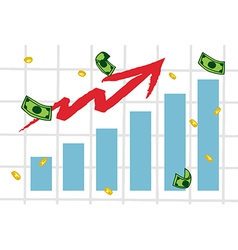 Raising Charts And Arrow With Money vector image