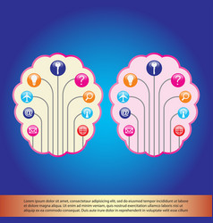 Brain and icon vector