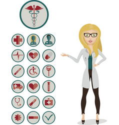 Woman doctor with medical icons vector