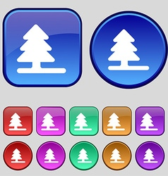 Christmas tree icon sign a set of twelve vintage vector