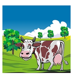 Cows in a meadow green background vector