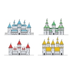 Medieval fortress or castles set flat style icons vector