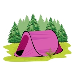 Pink camping tent standing on a glade vector