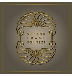 Vintage calligraphic gold frame modern swirl vector