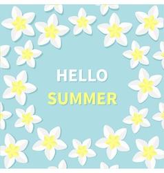 Hello summer greeting card plumeria tropical vector
