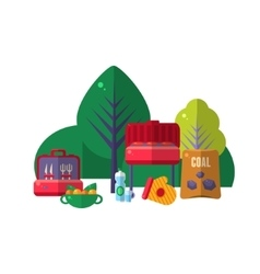 Barbeque in park items set vector