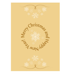 beige greeting card for christmas with snowflakes vector image vector image