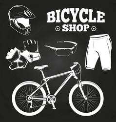 Bicycle shop on blackboard - helmet bicycle vector