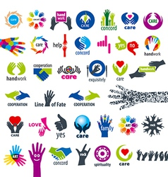 biggest collection of logos hands vector image vector image