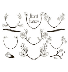 Black floral text frames branches laurels vector