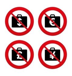 Businessman case signs Cash money icons vector image