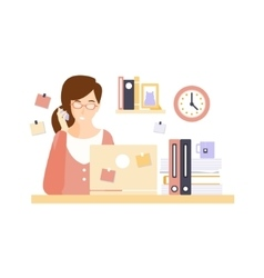 Busy woman office worker in office cubicle having vector