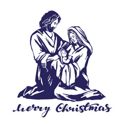 christmas story mary joseph and the baby jesus vector image