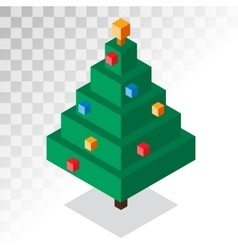 Christmas tree flat 3d isometric pixel art icon vector