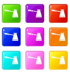 Coffee cezve icons 9 set vector