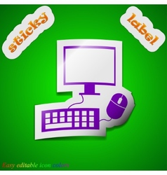 Computer monitor and keyboard icon sign Symbol vector image