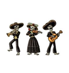 Dia de los muertos skeleton in the mexican vector