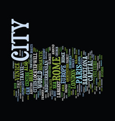 European cities top five to visit text background vector