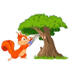 Funny squirrel saws branch vector