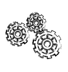 Gears working teamwork machinery pin wheel icon vector
