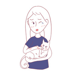 girl petting cat and was bited by him vector image