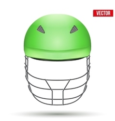 Green Cricket Helmet Front View vector image