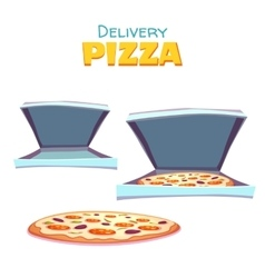 hot pizza in box with text vector image
