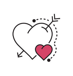 line heart and arrow pink vector image