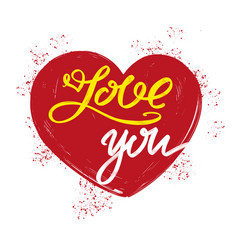 Love you text on the background of the heart on vector