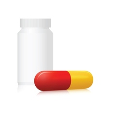 Pill bottle and capsule vector image vector image