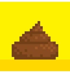Pixel art style poo on yellow vector