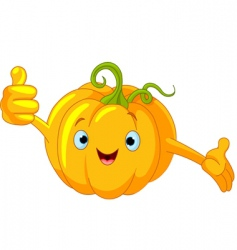 pumpkin character giving thumbs up vector image vector image