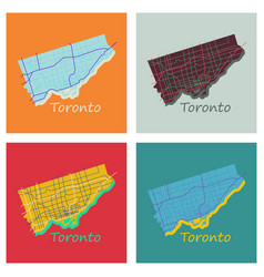 Set of flat color map of toronto canada city plan vector