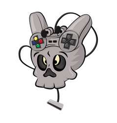 skull playing video games vector image